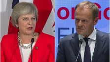 Theresa May told by Donald Tusk her Chequers plan 'will not work'