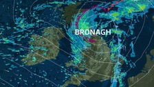 Storm Bronagh and its current track across the UK