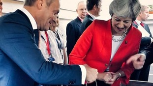 Donald Tusk posts a picture with Theresa May captioned with a sly putdown about Brexit cherry-picking