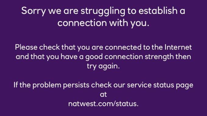 NatWest screen message
