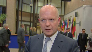 Foreign Secretary William Hague in Brussels this afternoon