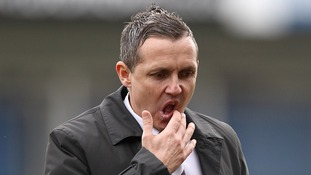 Luton Town manager Paul Buckle at half time during FA Cup tie against Milwall