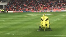 Air ambulance lands on the pitch