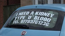 Woman appeals for a kidney donor in an advert on her car