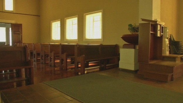 The interior of the crematorium at Victoria Park Crematorium