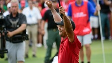Tiger Woods holds back tears as he wins first title in five years