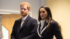 The Duke and Duchess of Sussex, pictured at Nechells Wellbeing Centre when they joined Birmingham's Coach Core apprentices.