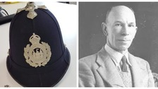The helmet is believed to have belonged to PC Ernest Tipler (right), who retired in the 1940s.