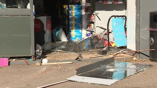 The Co-op shop at Great Shelford was smashed open by a four-wheel-drive vehicle.