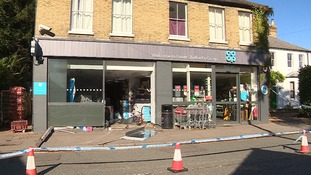 Thieves smashed into the front of the Co-op shop and stole the cash machine.