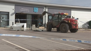 The Cooperative where a stolen digger was used to force a cash machine from the wall.