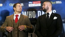 Oleksandr Usyk (left) and Tony Bellew during their press conference.