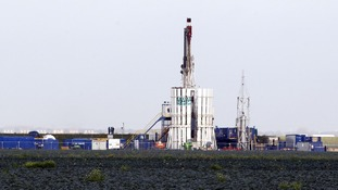 A shale gas rig located at Banks, near Southport, Merseyside.