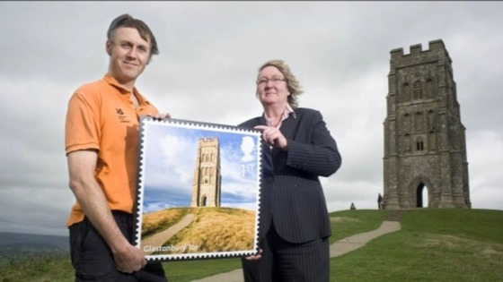 Stamp on display at Glastonbury Tor