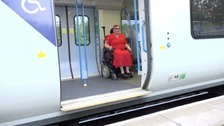 wheelchair user on train