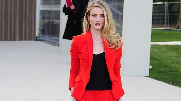 Rosie Huntington-Whiteley arriving for the Burberry Prorsum show