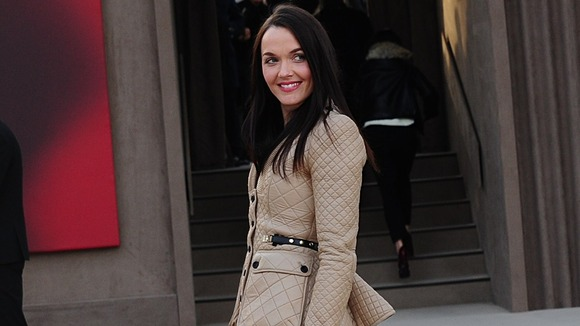 Victoria Pendleton arrives for Burberry show