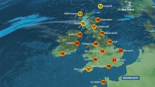 Weather: Fine, dry and sunny in the south, cloudier in the north