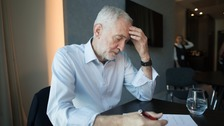 Labour leader Jeremy Corbyn works on his speech at the Labour conference in Liverpool.