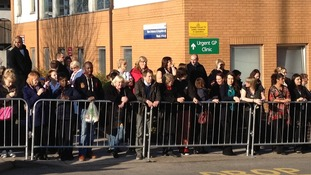 Crowds outside the hospital