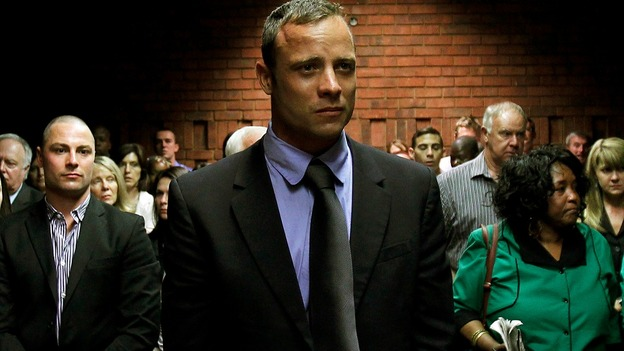 Oscar Pistorius appears in court during a bail hearing earlier today