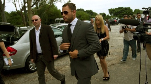 Rugby player Francois Hougaard arrives at a memorial service for model Reeva Steenkamp
