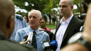 Reeva Steenkamp's uncle Michael and her brother Adam speak to the media after the memorial service.