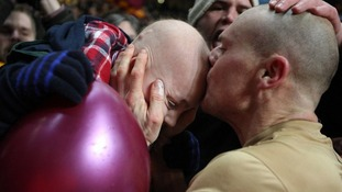 Bradford captain Gary Jones picks out Jake from the crowd at Villa Park.