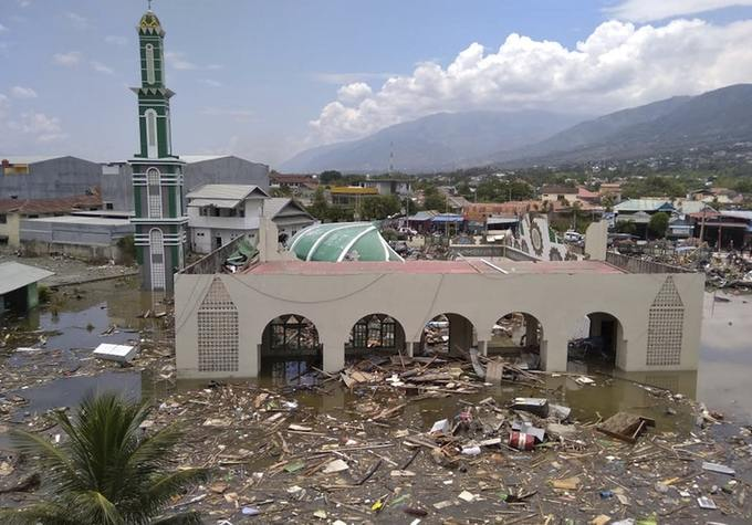 The ruin of a mosque badly damaged by the earthquake and tsunami