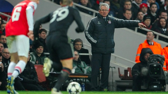 Bayern Munich coach Jupp Heynckes marshals his troops at the Emirates