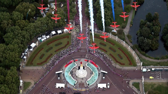 Red Arrows over Buckingham Palace last year