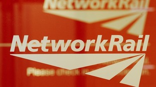 A Network Rail sign at their headquarters in London today
