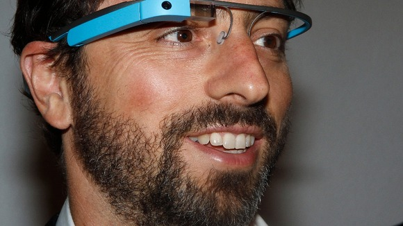 Google founder Sergey Brin wearing Google Glass glasses