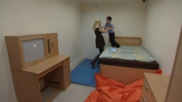 Rachel and Zach celebrate in his new bedroom