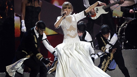 Taylor Swift performs during the 2013 Brit Awards at the O2 Arena, London.