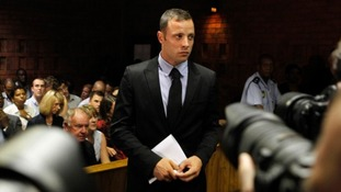 Oscar Pistorius seen on Wednesday during a break in court proceedings
