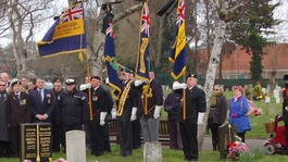 Standard bearers at the funeral of former Royal Marine James McConnell