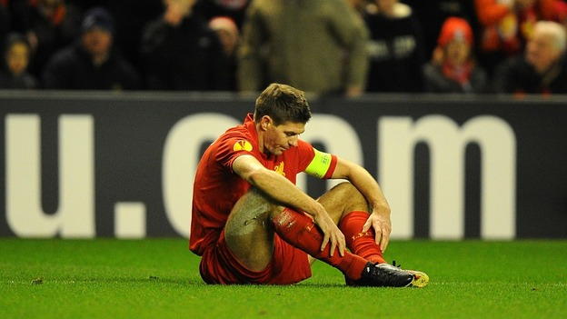 Liverpool skipper Steven Gerrard dejected after Hulk's opening goal