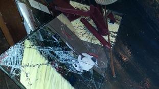 Smashed glass at the Smoking Dog pub in Lyon
