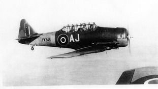1945: Pilot Officer Warren Foss, Royal Canadian Air Force flies over Montrose