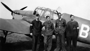 1949: Four airmen in front of a Miles Master
