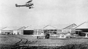 1914: BE2 starting for Cruden Bay. The hangars were named 'Burke's sheds' after Major Burke who built them