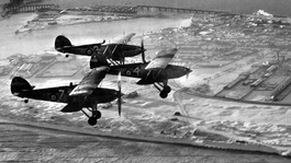 1938: Hawker Furies of No 8 Flying Training School, RAF Montrose fly over the town