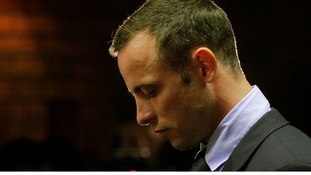 Oscar Pistorius in court in Pretoria today, the fourth day of his bail hearing.