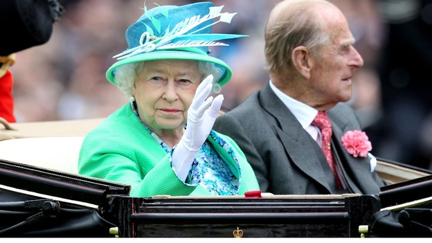 The Queen and Duke of Edinburgh arrive for day five of 2012 Royal Ascot