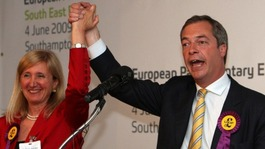Marta Andreasen with UKIP leader Nigel Farage as she is elected an MPE in 2009.