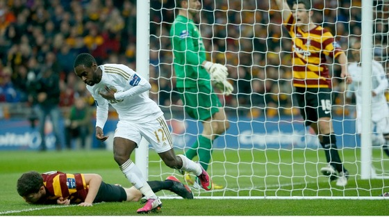 Nathan Dyer celebrates after putting his team ahead