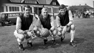 Geoff Hurst, Bobby Moore, and Martin Peters take a break from training at West Ham&#x27;s press day at Chadwell Heath, 16th August 1966.