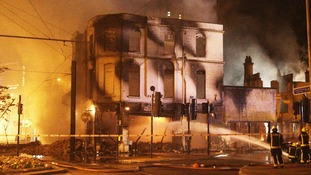 The burning building on August 8, 2011.