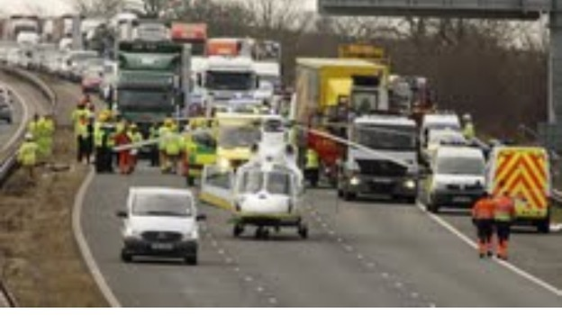 Scene of crash on M6 near Burton Services this morning